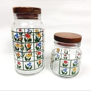 Vintage 1980s Anchor Hocking Nina Floral Canisters
